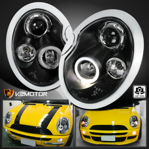 For 2002 2006 Mini Cooper S Replacement Led Halo Projector Headlights Black Pair