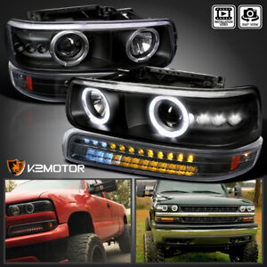 2000 2006 Tahoe 1999 2002 Silverado Black Projector Headlights led Bumper Lamps