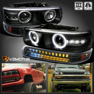 00 06 Chevy Tahoe 99 02 Silverado Black Projector Headlights Led Bumper Lights