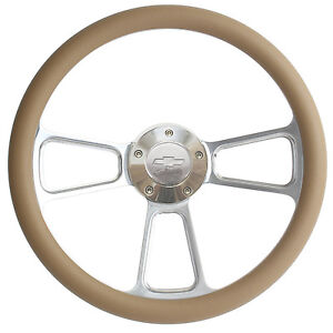 Chevy Steering Wheel Billet Tan Wrap Chevy Horn Adapter Ships Free