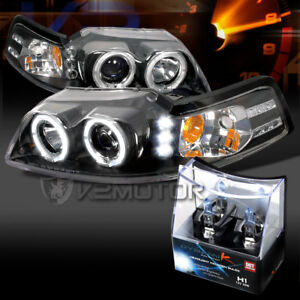 99 04 Ford Mustang Black Led Halo Projector Headlights h1 Halogen Bulbs