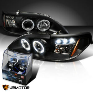 1994 1998 Ford Mustang Black Led Halo Projector Headlights h3 Halogen Bulbs