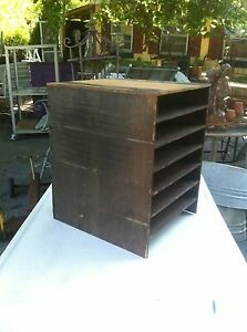Vintage Wood Record Stand Holder 7 Slot Paper File Box Parts Bin