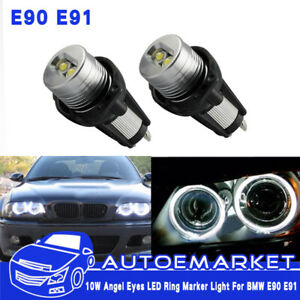 2x20w High Power Bmw Angel Eyes E90e91 3 Series Led Lights Ring Bulbs White Halo