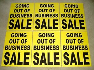 6 Going Out Of Business Sale Window Signs 17 5 X 23 Black On Yellow Paper