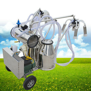 New Double Tank Electric Vaccuum Pump Milking Machine For Cows 110v 220v