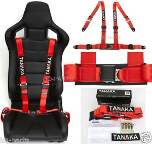 1 X Tanaka Universal Red 4 Point Ez Release Buckle Racing Seat Belt Harness