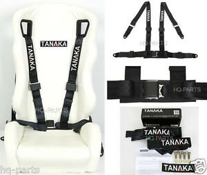 1 X Tanaka Universal Black 4 Point Ez Release Buckle Racing Seat Belt Harness