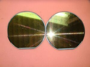 Lot Of 2 6 150mm Silicon Rare Vintage Wafer Awesome Patterns tq624