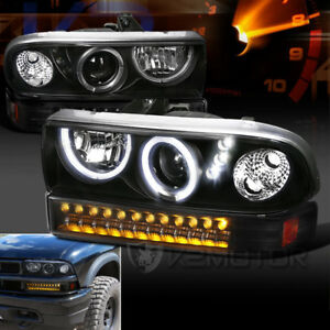 1998 2004 Chevy S10 Blazer Halo Led Black Projector Headlights led Bumper Lights