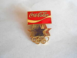 Vintage Coca Cola Olympics Enamel Pin Dated 1980 & 1982 on Back