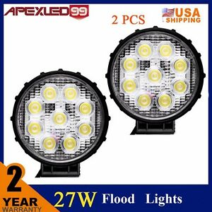 Pair 27w Round Led Flood Work Light Pods Fog Beam Off Road Lights For Utv Atv