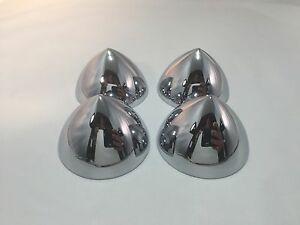 Set Of 4 2 5 Chrome Bullet Nose Hubcap Center Accessory Hot Rod Rat Rod Custom