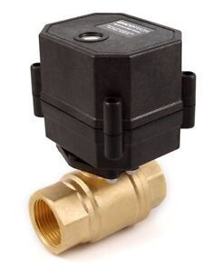 3 4 Npt Motorized Ball Valve 110 120 To 220 240 Vac Brass 2 wire Normally Open