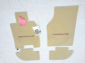 Porsche 944 Carpet Floor Mats 4 W logo Front Fits 1985 5 1991 Linen light Tan