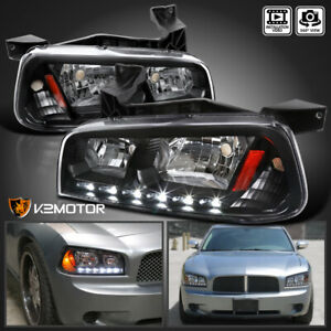 For 2006 2010 Dodge Charger Led Drl 1pc Style Headlights W Corner Lamps Black