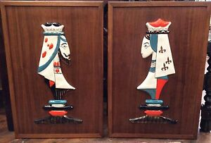 2 Vtg Mid Century Modern King And Queen Ceramic Wall Plaques Bitossi Raymor Era