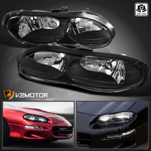 For 1998 2002 Chevy Camaro Black Replacement Headlights Lights Lamps Left Right