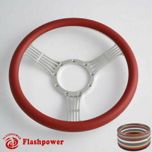 15 5 Flashpower Banjo Steering Wheel Burgundy Half Wrap Custom Chevy Ididit