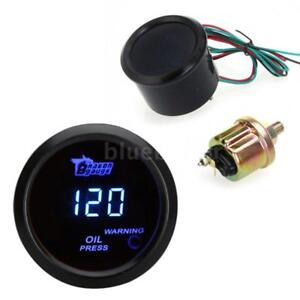 Car Universal 2 52mm Black Shell Digital Blue Led Oil Press Pressure Gauge Psi