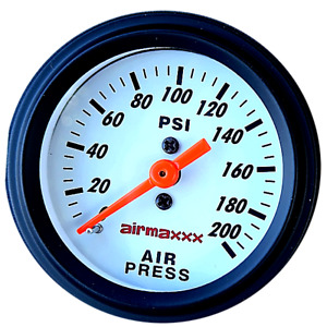 Air Gauge Single Needle 200 Psi Air Ride Suspension System 2 White Face Led