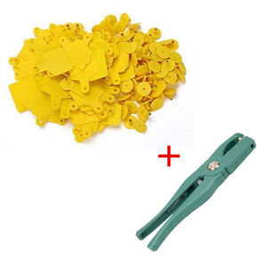 Cow Cattle Blank Large Livestock Ear Tag With Yellow Color Ear Tag Plier