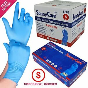 1000 Blue Nitrile Medical Exam Gloves Powder Free non Vinyl Latex Size Small