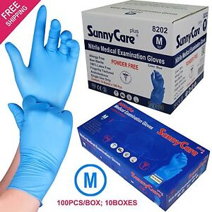 1000 Blue Nitrile Medical Exam Gloves Powder Free non Vinyl Latex Size Medium