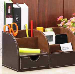 A New Leather Desk Drawer Holder Desktop Storage Home Office Desktop Organizer
