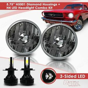 H5001 5 75 Round Sealed Beam Headlight Diamond Housing H4 Led Conversion Kit b