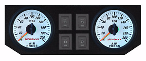 Air Ride Suspension White Dual Needle Air Gauges 200psi Panel 4 Rocker Switches
