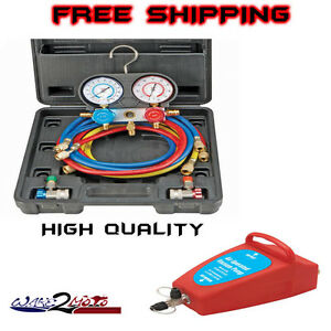 R134a Ac A C Manifold Gauge Set Auto Truck Car Air Vacuum Pump R12 New R 134a