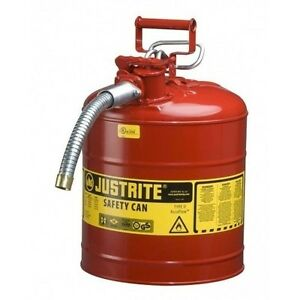 Steel Gas Can Red 5 Gallon Jerry Metal Gasoline Diesel Safety Flexible Spout