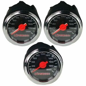 Three Air Gauges Dual Single Needle 200psi Air Ride Suspension System 2 Black