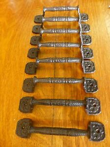 8 Large 8 5 Basket Weave Antique Style Cast Iron Cabinet Door Gate Handle Pull