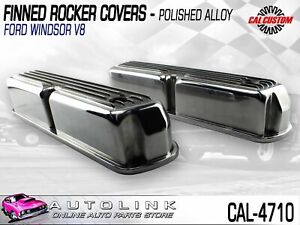 Cal Customs Finned Rocker Covers Suit Ford Windsor 289 302 351 V8 Polished Alloy