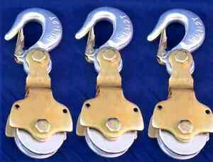 3 pack 2ton Wire Rope Pulley Block W Swivel Eye Hoist Hook Snatch Block