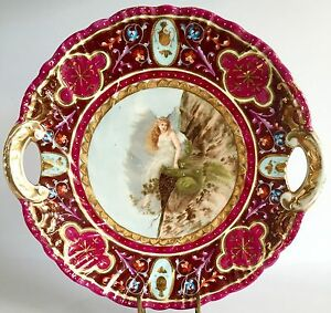 Antique Royal Vienna Style Porcelain Portrait Plate Circa 1890