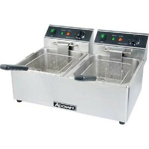 New Adcraft Countertop Fryer Electric Double Tank 120v