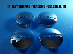 4 New Chrome Center Caps For Dodge 2 5 63mm Center Logo Cap Rim Emblem