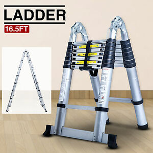 Folding 16 5ft Aluminum Multi Purpose Ladder Telescoping Telescopic Extension