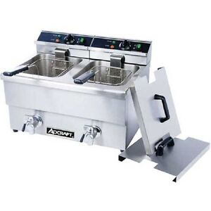 New Adcraft Countertop Fryer W faucet Electric Double Tank 208 240v