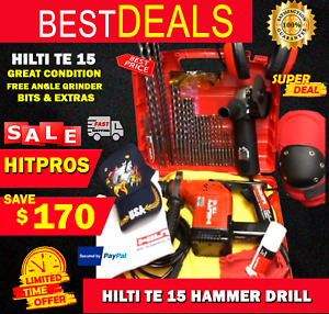 Hilti Te 15 Great Condition Free Angle Grinder Bits Extras Fast Ship