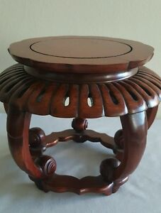 Gorgeous Old Chinese Hand Carved Detailed Rosewood Stand For Fish Bowl 7 3 4 D