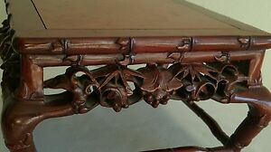 Superb Rare Old Chinese Hand Carved Rose Wood Detailed Bamboo Stand 8 1 2 Width