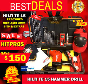 Hilti Te 15 Preowned Free Laser Meter Bits And Extras Fast Ship