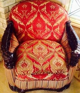 1900 Era Ornate Baroque Curved Club Chair Ottoman Karastan Velvet Chenille