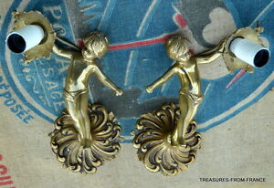 Two French Antique Bronze Cherub Light Fittings Re Wired 110 240v