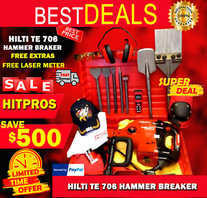 Hilti Te 706 Preowned Free Laser Meter Chisels Extras Fast Ship