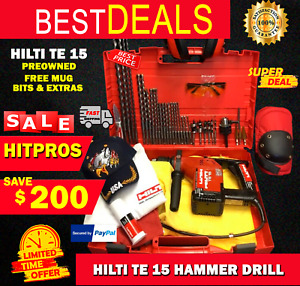 Hilti Te 15 Hammer Drill Preowned Free Bits Extras Fast Ship